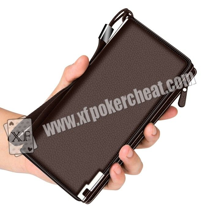 Men Leather Infrared Light Wallet Camera Playing Card Scanner , Scanning Width 10cm